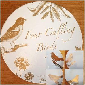 Four Calling Birds Set of 4 Gilded Salad Plates